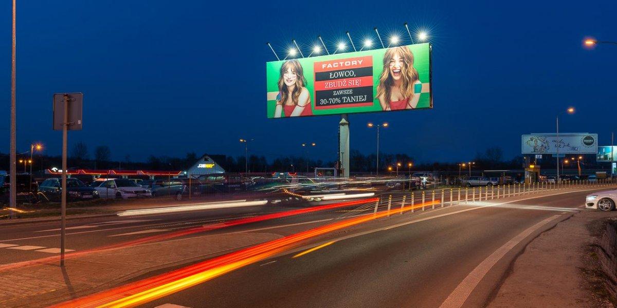 Factory. Kampania zewnętrzna. Outdoor. Powierzchnia reklamowa. Tablice billboardowe I CITY. Ekspert komunikacji wizualnej