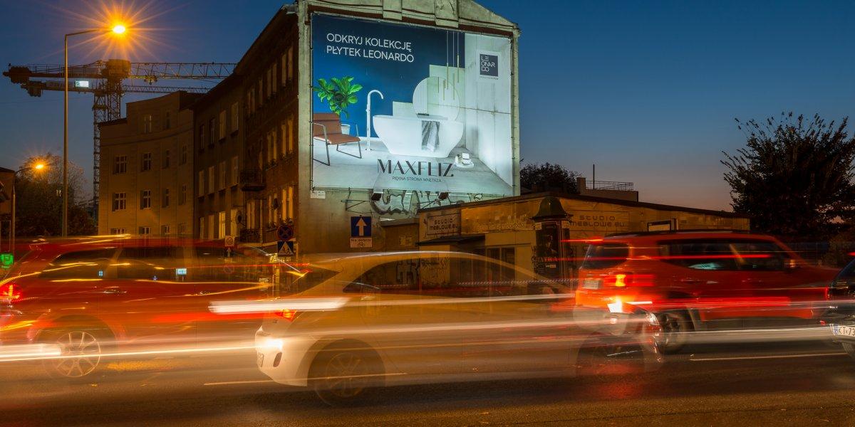Max-Fliz. Powierzchnia reklamowa. Banner. Technologia wydruku UV. CITY