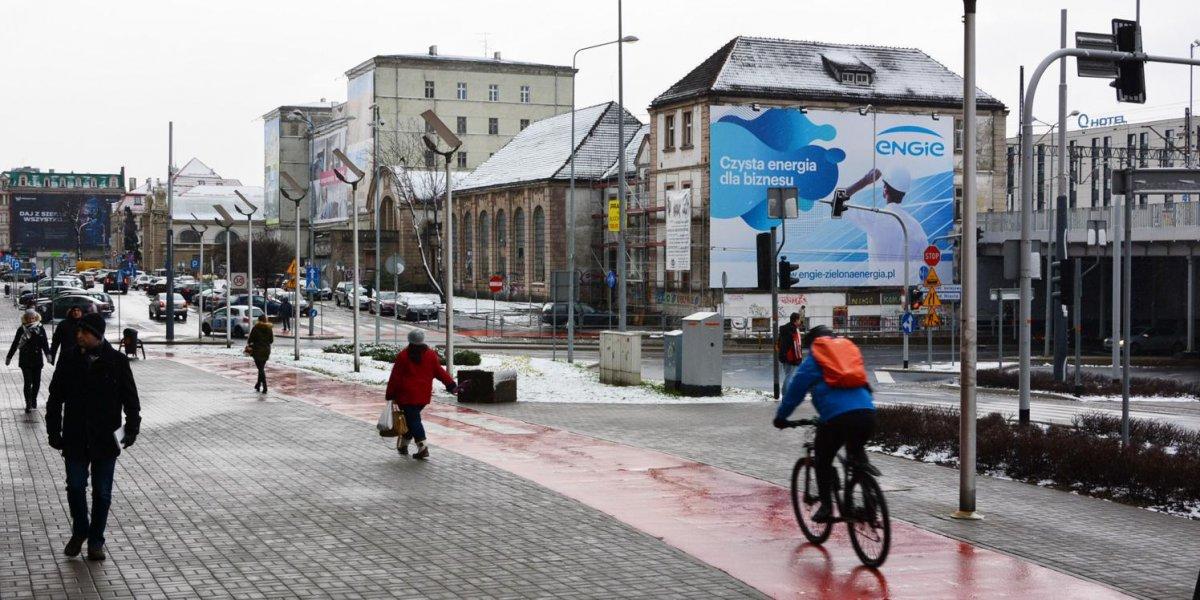 Engie. Outdoor. Kampania zewnętrza. Nośniki reklamowe. Kraków, Katowice. Siatka mesh. Technologia wydruku UV I CITY. Ekspert komunikacji wizualnej