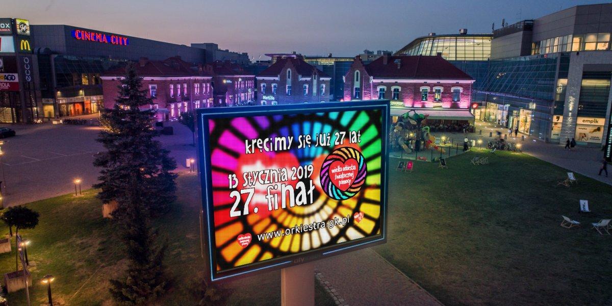 WOŚP. Kampania LED. Emisja contentu w miejskiej sieci ekranów LED I CITY. Ekspert komunikacji wizualnej.